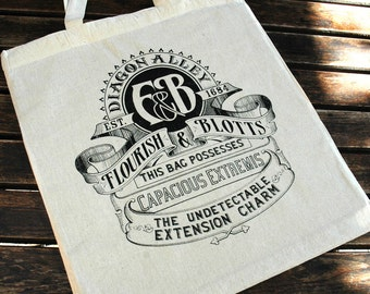 Harry Potter Flourish & Blotts - Cotton Canvas Reusable Market Tote Bag