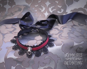 Luxury Rosalind Collar in Red Silk and Black Lace with Large Bow - Ready To Ship - Absolute Devotion
