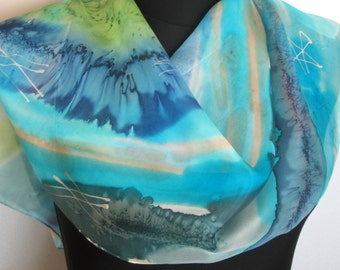 Azure, aquamarine, cobalt blue and forest green color shades abstract scarf. Hand painted scarf. Blue painted scarf. Scarf resembling waves.