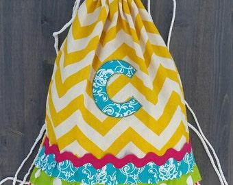 Custom Adult Size Yellow Chevron Drawstring Backpack WITH MONOGRAM