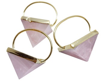 10% SALE Rose Quartz Pyramid with Fancy Electroplated 24k Gold Cap and Bail BL (S93B22-03)