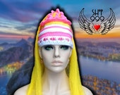 RIO CARNIVAL headdress headpiece crochet hat with synthetic long hair in bright yellow & cotton candy pink