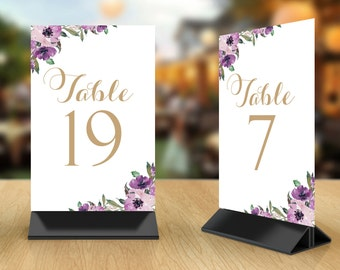 Table Number Cards 1 through 30   Vintage   Antique Gold Script   Purple Blooms   4 x 6   Set of 30   Instant Download