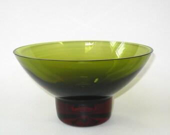 """Bo Borgstrom Aseda  Sommerso 2 Color Bubble Base 9""""D Glass Console Bowl - Mid Century Sweden"""