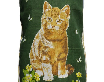 Metro Retro 'Ginger Cat - Primrose Puss' Vintage Tea Towel HANDMADE Apron   - Mother's Day OOAK, upcycled.    Birthday Gift  Idea