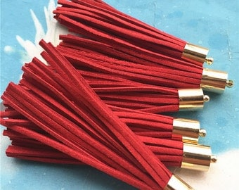 10pcs 80mm Gold Metal cap Red suede leather tassel pendant charms findings