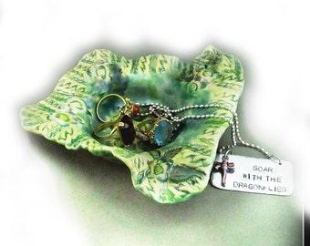 Green bowl, Ceramic Trinket Dish,  Decorative Pottery,  Pottery Dish, ceramic bowl,    #17