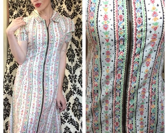Gorgeous southwestern 1940s cotton house dress-as is
