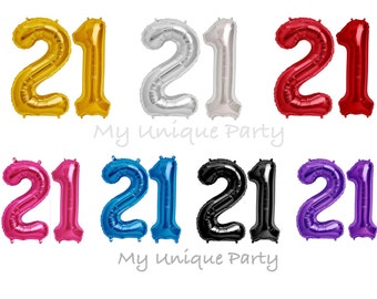 """21 Birthday Number Balloons 16"""" or 34"""" Mylar / Pack of 2 Balloons / 16"""" Air Fill only / 21st Birthday"""