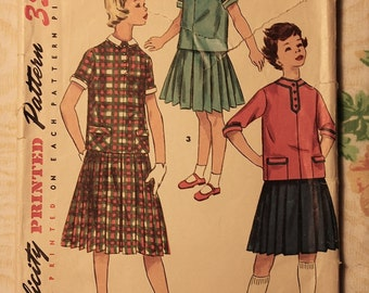 Simplicity Vintage Sewing Pattern Girls size 8 Two piece Dress with detachable collar and cuffs 1950's