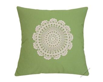 """Avocado Green Doily Decorative Throw Pillow Cover / Pillow Case / Cushion Cover / Cotton / 20x20"""""""