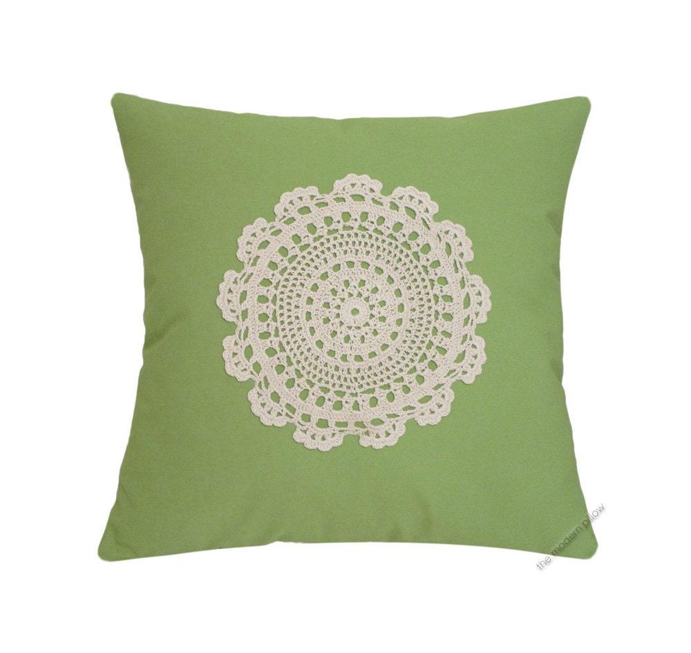 Avocado Green Doily Decorative Throw Pillow Cover Pillow