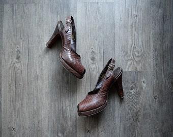 1940s platform heels . vintage 40s brown slingback heels