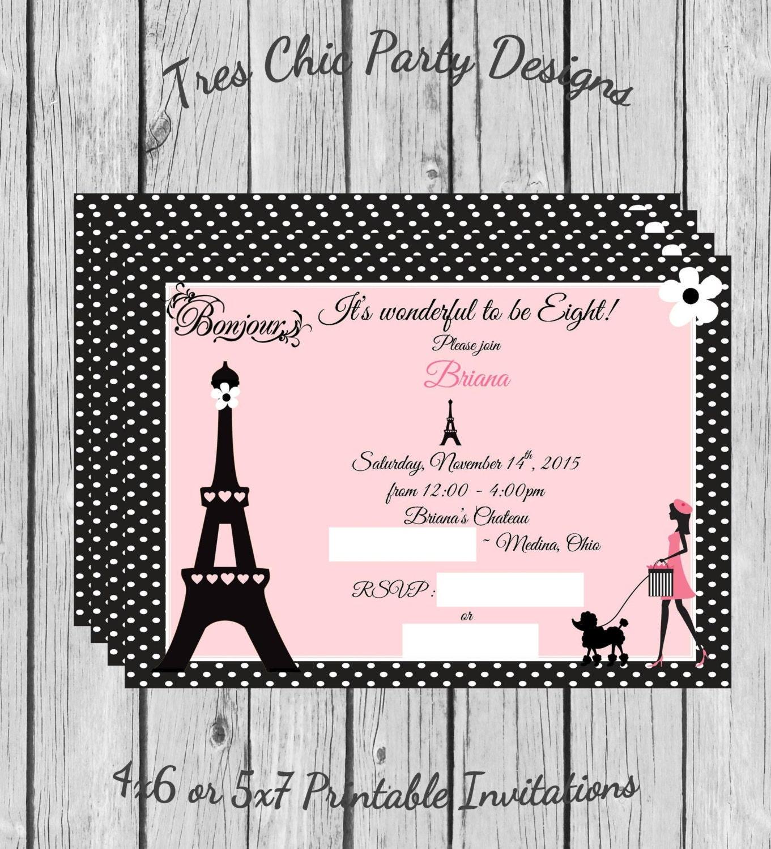 Paris Invitations Paris birthday invitations Paris print your