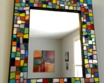 Multi-Color Stained Glass Mosaic Mirror - Jewel Colors - Medium Size