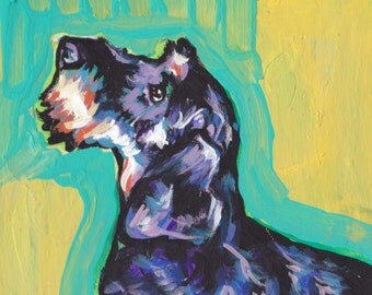 wirehaired Dachshund portrait print of pop art dog painting bright colors 13x19