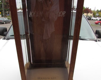 Nice KEEN KUTTER HARDWARE Oak Hardware Display Case Cabinet-Etched Glass Showcase