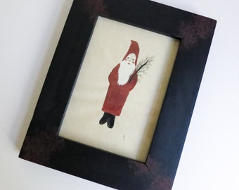 Framed Watercolor Christmas Painting of Santa Belsnickle - Original Art - Country Christmas - Minimalist Primitive Christmas Decoration