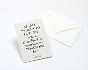 Letterpress Typography Postcard - Futura Book.