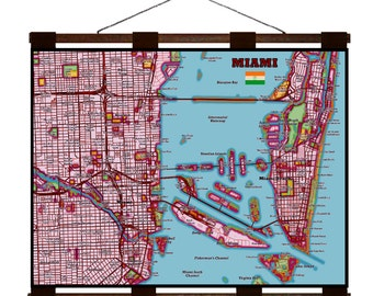 MIAMI Map 1E- Handmade Leather Wall Hanging - Travel Art