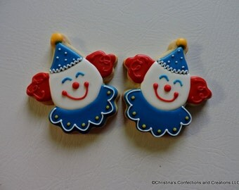 Circus or Carnival Clown Hand decorated Sugar cookies