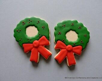 Christmas Wreath Decorated Sugar Cookies (#2558)