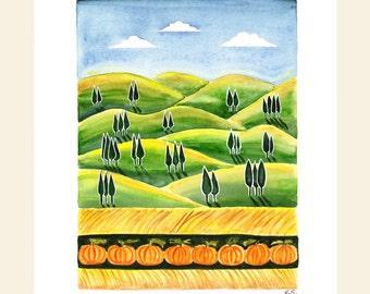 Original art Watercolor illustration Autumn fall painting Farm Wheat fields Sunshine Sunset Tree Pumpkin Folk art Wall art Home decor