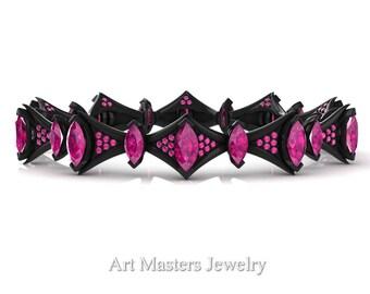Savage 14K Black Gold 15.0 Ct Marquise Pink Sapphire Art Nouveau Bridal Bracelet R438B-14KBGPS