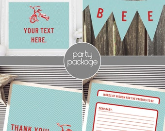 Instant Download - Red Tricycle Package - Aqua Blue Chevron