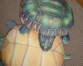 Sale Pending////Pillow/TURTLES/POLY-FILLED/Vintage Fun Pillows/Green Turtles