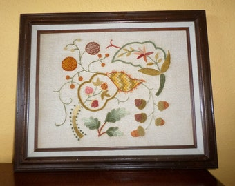 Hand Made CREWELWORK EARTHTONES/Leaves, Acorns/Fall Colors/Wood Frame