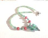 Clearance Sale Aqua Lampwork Necklace - Heart Pendant  - Jade - Adventurine - Heart Toggle Clasp - Handmade
