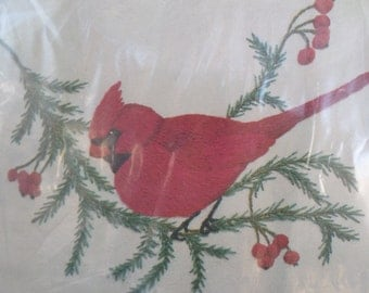 Cathy Needlecraft Pillow Kit Red Cardinal Bird on Bough, Printed Linen with Yarn, Instruction and More! New Vintage