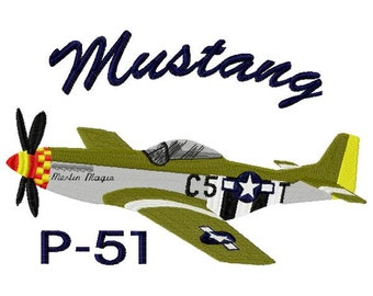 Mustang P-51 Airplane Embroidery Design - Instant Download