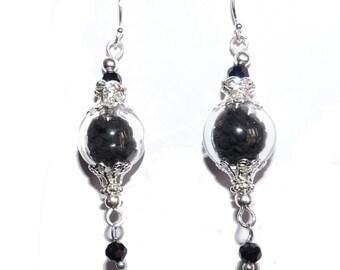 Black nigella seeds earrings Nature dried botanical plant beads lampwork orb globe ball dry flowers swarovski jewelry matching for women