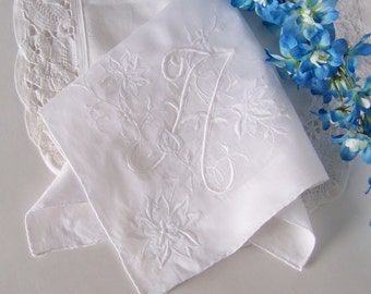 Bridal Handkerchief Monogrammed A with Floral Embroidery in White Bride's or Bridesmaid's Gift Something Old Wedding Keepsake