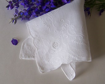 Lace Wedding Handkerchief for a Bride Something Old Vintage Hanky in White Heirloom Quality Keepsake