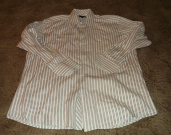 Men's BEN SHERMAN L/S Button Front Shirt Sz 17 32-33 100% Cotton Striped