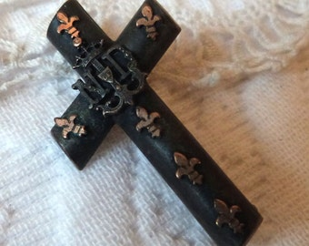 Victorian mourning jewelry crucifix cross brooch pin French 1800s antique black brooch mourning pin w fleur de lis lys, black gothic jewelry