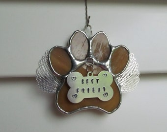 "Stained Glass Paw Print ""Paws To Remember"" Angel - Amber Swirled Glass  Memorial Marker -Personalized Hand Stamped Tags now Available"