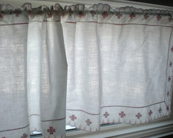 Kitchen Curtains Set of 2 Valances, Embroidered PINK Girl's Bedroom Curtain Panels, Bathroom Valance, Feminine Pretty Baby Nursery WHITE