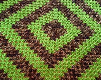 Hand made, Hand crochet granny square baby blanket, afghan, spring green and camouflage.