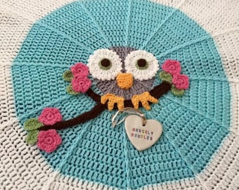 Soft Snuggly Circular Crochet Owl Blanket - can be personalised