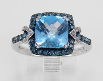 Blue Topaz and Fancy Diamond Halo Engagement Promise Ring White Gold Size 7