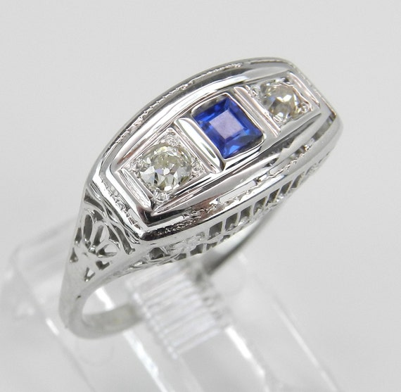 Antique Art Deco Diamond and Sapphire Cocktail Ring 18K White Gold Size 4.25