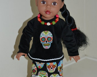Dios Los Muertos tiered skirt, blouse and necklace for 18 inch doll.