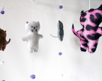 Cat Mobile, Nursery Decor, New Baby Gift, Neutral colours, Any Gender Mobile, Cot Mobile, Baby Mobile, Hanging Decoration