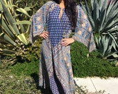 Vintage Kaftan//Indian Cotton Kaftan// Cotton Boho Dress// Hippie Festival Dress//Circa 1970s