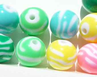 20mm. 10CT.  Pastel ZEBRA Print Beads, Animal Print Beads, H39