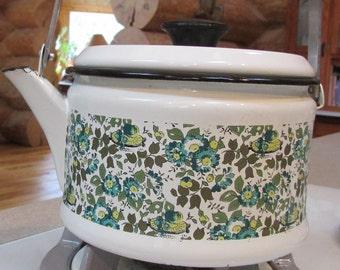 Vintage Floral Enamel Ware Teapot Kettle
